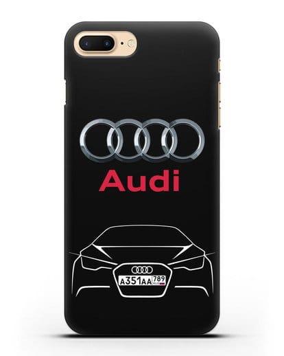 Чехол Audi с автомобильным номером силикон черный для iPhone 7 Plus
