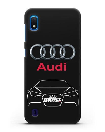 Чехол Audi с автомобильным номером силикон черный для Samsung Galaxy A10 [SM-A105F]
