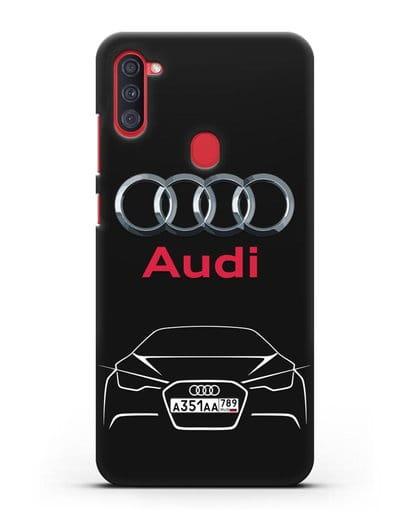 Чехол Audi с автомобильным номером силикон черный для Samsung Galaxy A11 [SM-A115F]