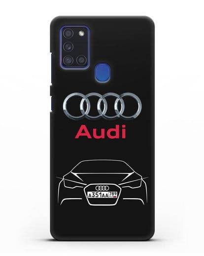 Чехол Audi с автомобильным номером силикон черный для Samsung Galaxy A21s [SM-A217F]
