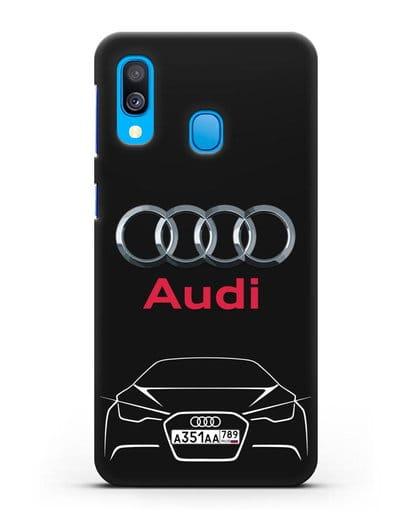 Чехол Audi с автомобильным номером силикон черный для Samsung Galaxy A40 [SM-A405F]