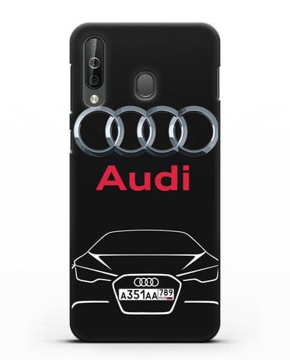 Чехол Audi с автомобильным номером силикон черный для Samsung Galaxy A40s [SM-A507FN]