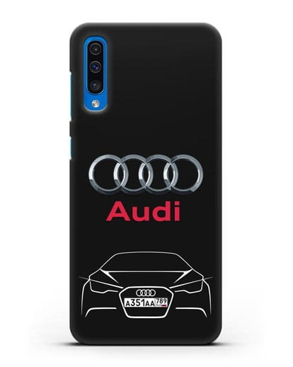 Чехол Audi с автомобильным номером силикон черный для Samsung Galaxy A50 [SM-A505F]