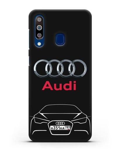 Чехол Audi с автомобильным номером силикон черный для Samsung Galaxy A60 [SM-A606F]