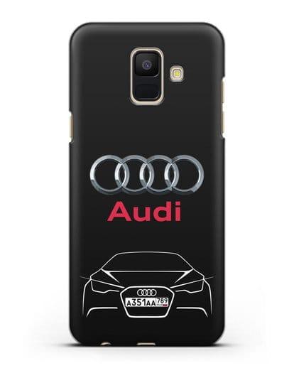 Чехол Audi с автомобильным номером силикон черный для Samsung Galaxy A6 2018 [SM-A600F]