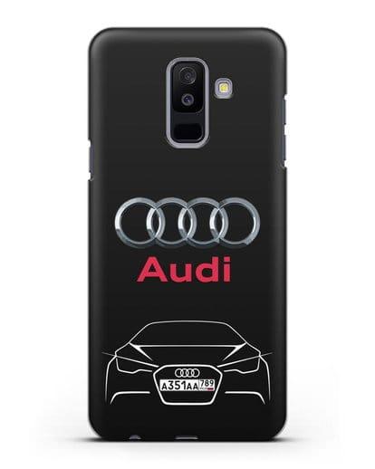 Чехол Audi с автомобильным номером силикон черный для Samsung Galaxy A6 Plus 2018 [SM-A605F]