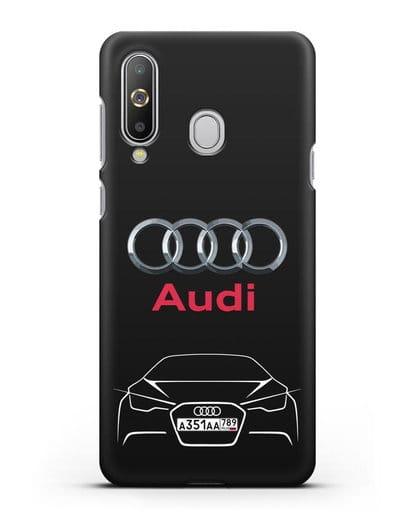 Чехол Audi с автомобильным номером силикон черный для Samsung Galaxy A8s [SM-G8870]