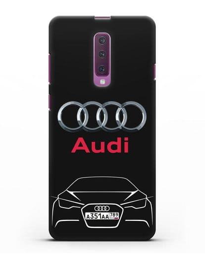 Чехол Audi с автомобильным номером силикон черный для Samsung Galaxy A90 [SM-A908N]