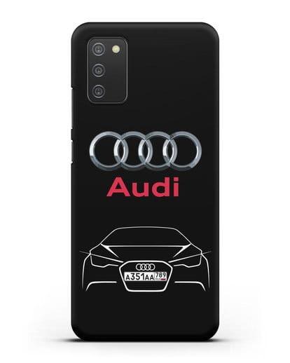 Чехол Audi с автомобильным номером силикон черный для Samsung Galaxy A02s [SM-A025F]