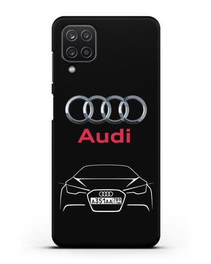 Чехол Audi с автомобильным номером силикон черный для Samsung Galaxy A12 [SM-A125F]