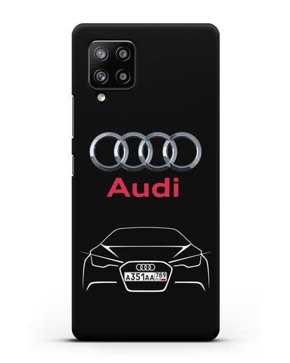 Чехол Audi с автомобильным номером силикон черный для Samsung Galaxy A42 [SM-A426B]