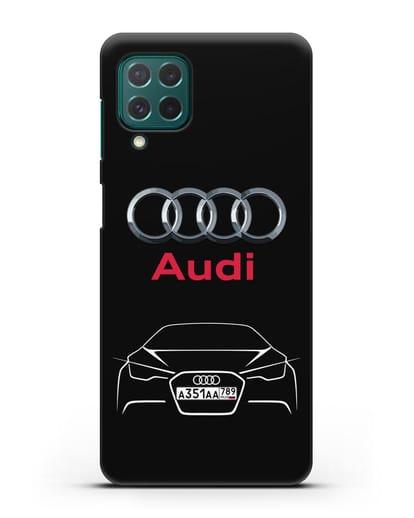 Чехол Audi с автомобильным номером силикон черный для Samsung Galaxy M62 [SM-M625F]