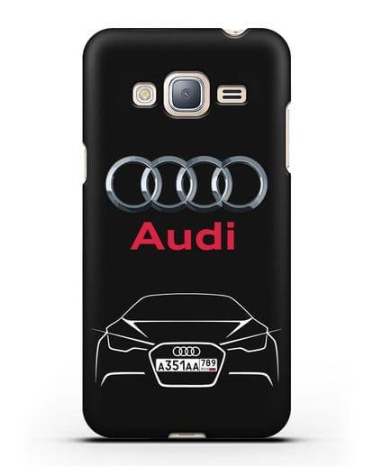 Чехол Audi с автомобильным номером силикон черный для Samsung Galaxy J3 2016 [SM-J320F]