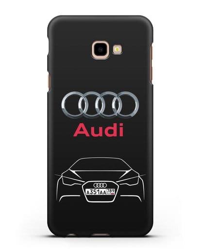 Чехол Audi с автомобильным номером силикон черный для Samsung Galaxy J4 Plus [SM-J415]
