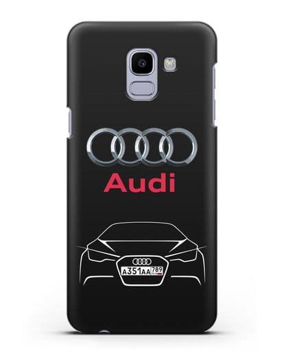 Чехол Audi с автомобильным номером силикон черный для Samsung Galaxy J6 2018 [SM-J600F]