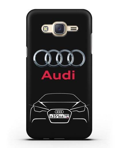Чехол Audi с автомобильным номером силикон черный для Samsung Galaxy J7 2015 [SM-J700H]
