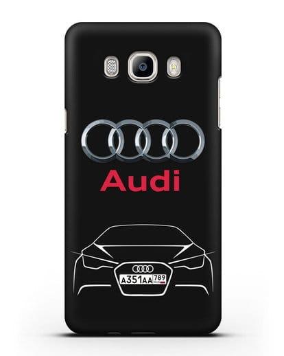 Чехол Audi с автомобильным номером силикон черный для Samsung Galaxy J7 2016 [SM-J710F]