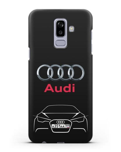 Чехол Audi с автомобильным номером силикон черный для Samsung Galaxy J8 2018 [SM-J810F]