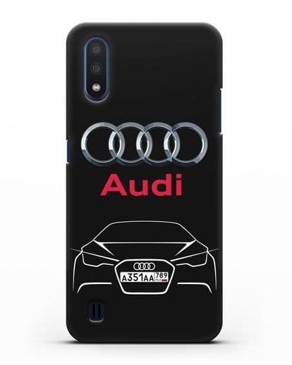 Чехол Audi с автомобильным номером силикон черный для Samsung Galaxy M01 [SM-M015F]