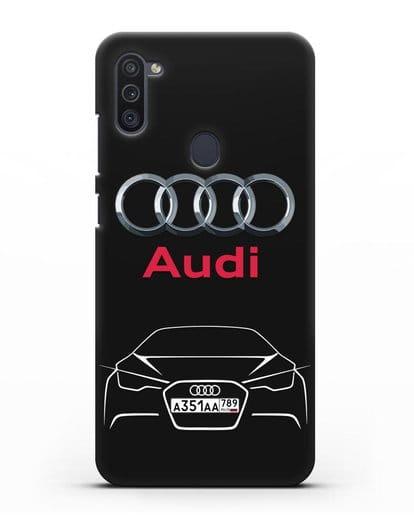 Чехол Audi с автомобильным номером силикон черный для Samsung Galaxy M11 [SM-M115F]