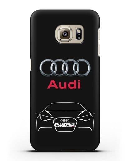 Чехол Audi с автомобильным номером силикон черный для Samsung Galaxy S6 [SM-G920F]
