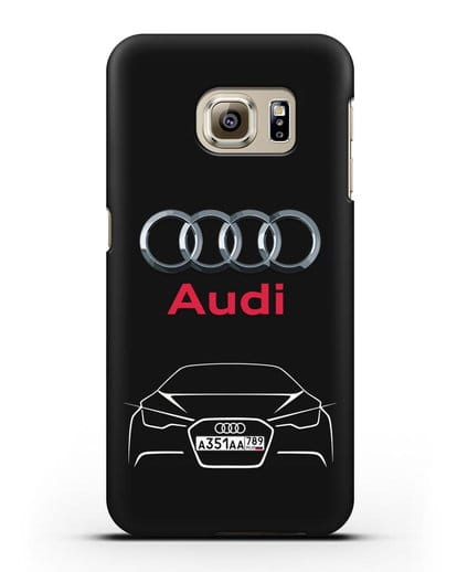 Чехол Audi с автомобильным номером силикон черный для Samsung Galaxy S6 Edge [SM-G925F]