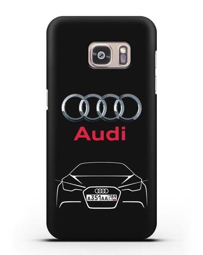 Чехол Audi с автомобильным номером силикон черный для Samsung Galaxy S7 Edge [SM-G935F]