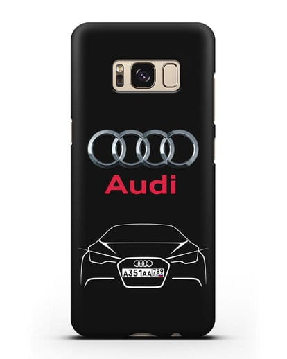 Чехол Audi с автомобильным номером силикон черный для Samsung Galaxy S8 Plus [SM-G955F]