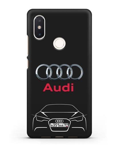 Чехол Audi с автомобильным номером силикон черный для Xiaomi Mi 8 SE