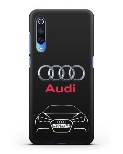 Чехол Audi с автомобильным номером силикон черный для Xiaomi Mi 9