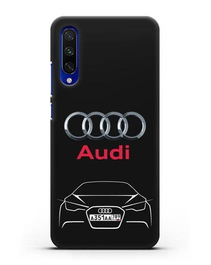 Чехол Audi с автомобильным номером силикон черный для Xiaomi Mi A3