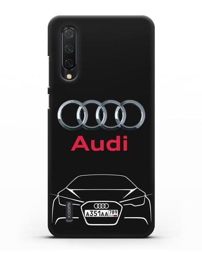 Чехол Audi с автомобильным номером силикон черный для Xiaomi Mi A3 Lite