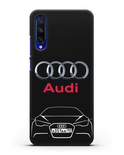 Чехол Audi с автомобильным номером силикон черный для Xiaomi Mi CC9 E