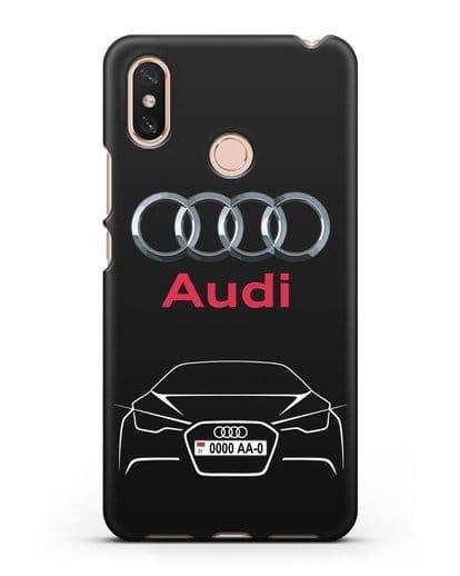 Чехол Audi с автомобильным номером силикон черный для Xiaomi Mi Max 3
