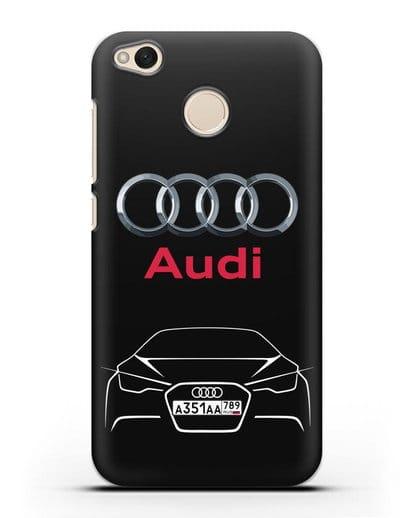 Чехол Audi с автомобильным номером силикон черный для Xiaomi Redmi 4X