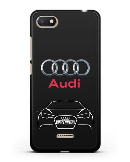 Чехол Audi с автомобильным номером силикон черный для Xiaomi Redmi 6A