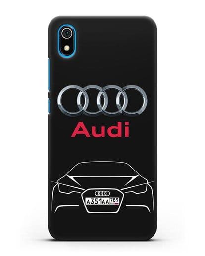 Чехол Audi с автомобильным номером силикон черный для Xiaomi Redmi 7A