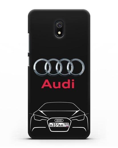 Чехол Audi с автомобильным номером силикон черный для Xiaomi Redmi 8A