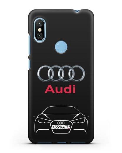 Чехол Audi с автомобильным номером силикон черный для Xiaomi Redmi Note 6 Pro