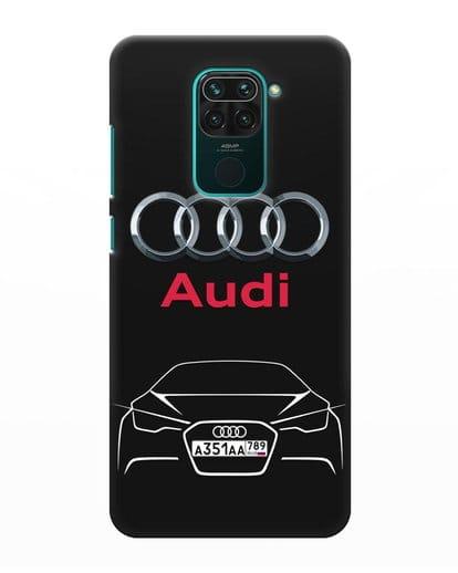 Чехол Audi с автомобильным номером силикон черный для Xiaomi Redmi Note 9