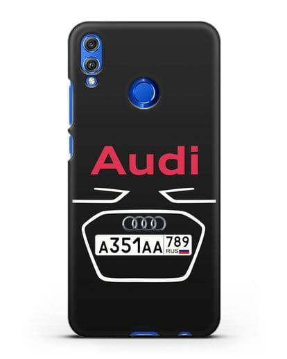 Чехол Ауди с номерным знаком силикон черный для Honor 8X