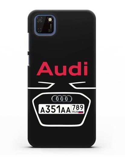 Чехол Ауди с номерным знаком силикон черный для Huawei Y5P