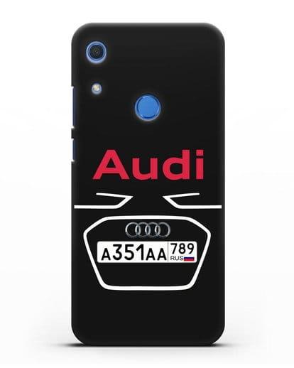 Чехол Ауди с номерным знаком силикон черный для Huawei Y6s