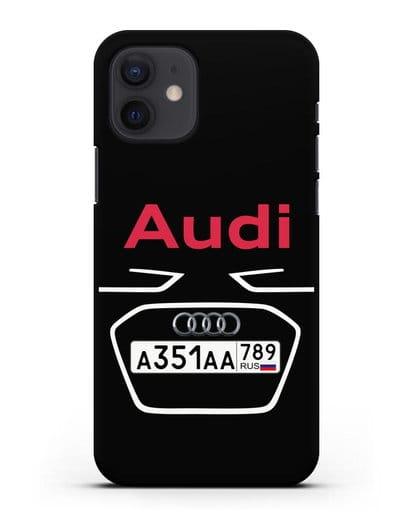 Чехол Ауди с номерным знаком силикон черный для iPhone 12