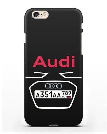 Чехол Ауди с номерным знаком силикон черный для iPhone 6
