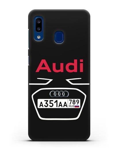 Чехол Ауди с номерным знаком силикон черный для Samsung Galaxy A20 [SM-A205FN]