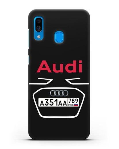Чехол Ауди с номерным знаком силикон черный для Samsung Galaxy A30 [SM-A305FN]