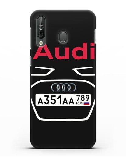 Чехол Ауди с номерным знаком силикон черный для Samsung Galaxy A40s [SM-A507FN]
