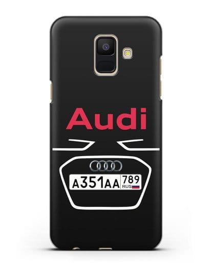 Чехол Ауди с номерным знаком силикон черный для Samsung Galaxy A6 2018 [SM-A600F]