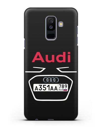 Чехол Ауди с номерным знаком силикон черный для Samsung Galaxy A6 Plus 2018 [SM-A605F]